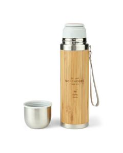 Bamboo Stainless Steel Thermos Flask 360ml with Mug